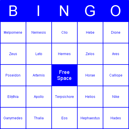 Ancient Greek Gods Bingo Card