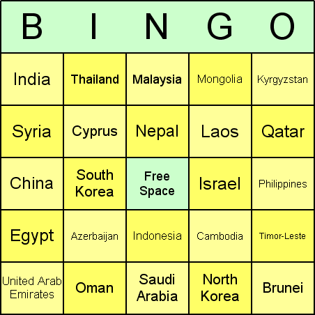 Asian Countries Bingo Card