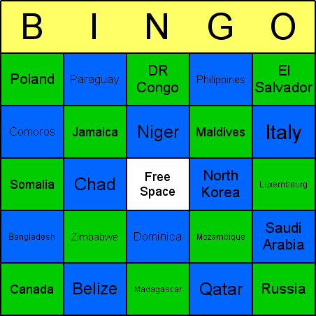 Countries Bingo Card