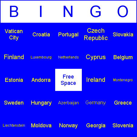 European countries Bingo Card