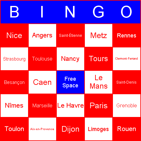 French cities Bingo Card