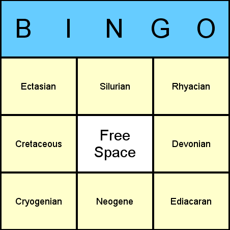 Geological Periods Bingo Card