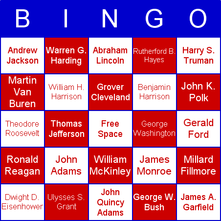 US Presidents Bingo Card