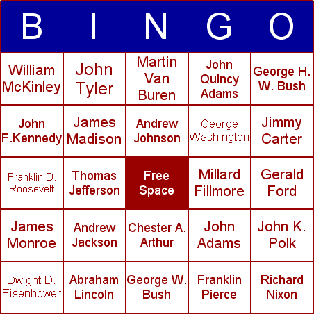 Presidents' Day Bingo Card