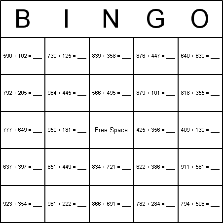 math worksheet : math addition bingo cards : 3 Digit Addition Games
