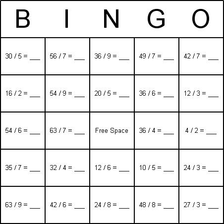 Math Division Bingo Cards