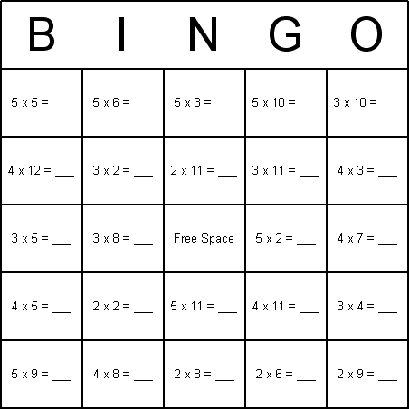 This is a photo of Zany Printable Multiplication Bingo