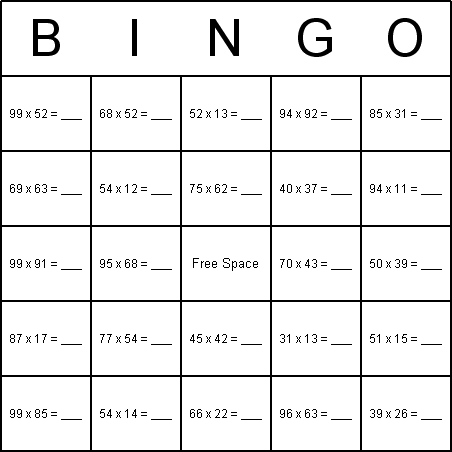 Multiplication Coloring Sheets on Have A Multiplication Theme Here Is An Example Bingo Card