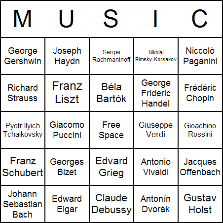 Famous Composers Bingo Card