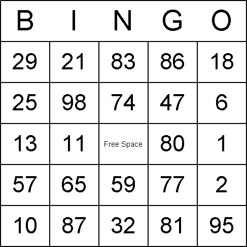Below is a printable set of numbered bingo cards cards (click the ...