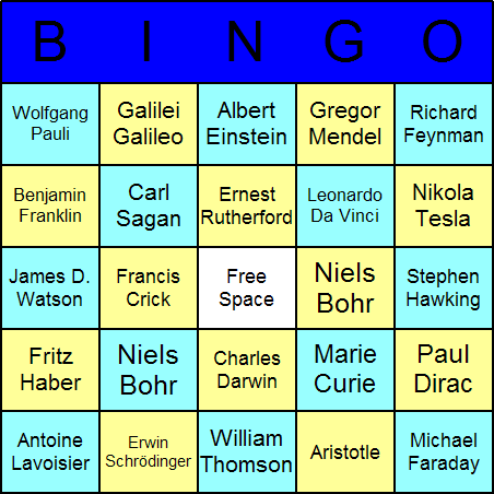 Famous Scientists Bingo Card
