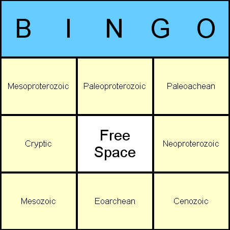 Geological Eras Bingo Card